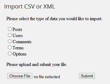 Import Posts, Content In CSV And XML Format In WordPress