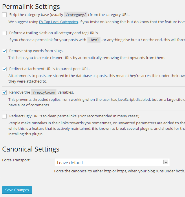Permalink settings for WordPress SEO by Yoast plugin