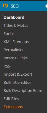 SEO menu for WordPress SEO by Yoast plugin
