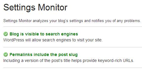 Settings monitor in SEO Ultimate WordPress plugin