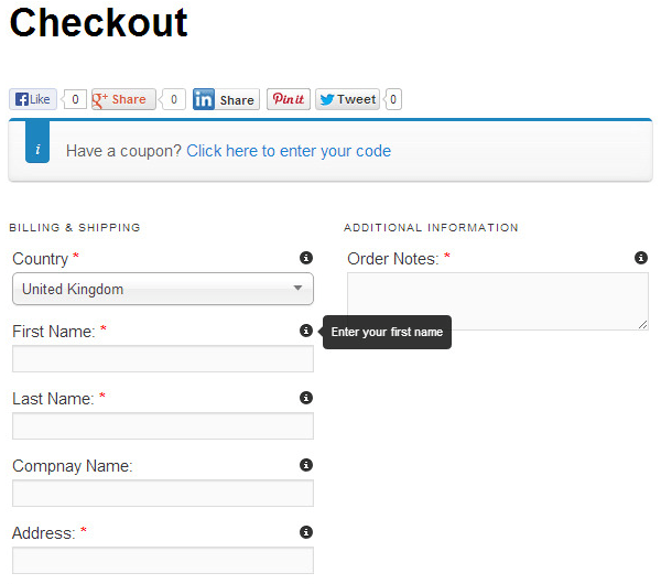 Tooltips for customers in checkout page in WooCommerce store