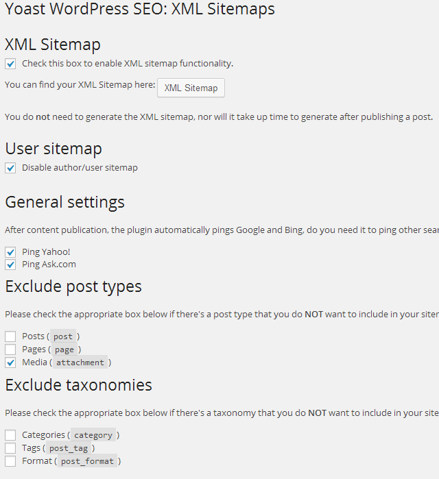 XML Sitemaps settings for WordPress SEO by Yoast plugin