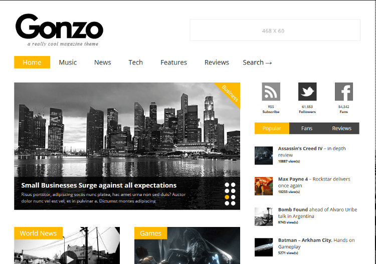 Gonzo WordPress Theme