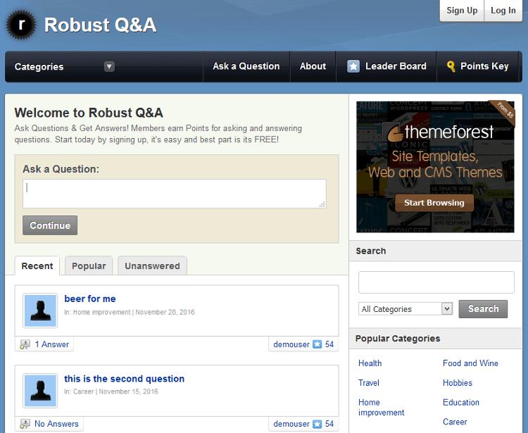 Robust Q&A WordPress Theme
