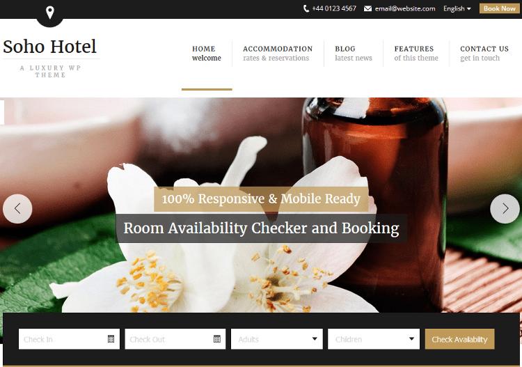 Soho Hotel WordPress Theme