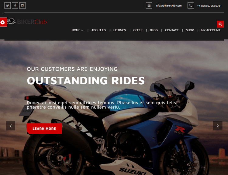 Biker Club WordPress Theme