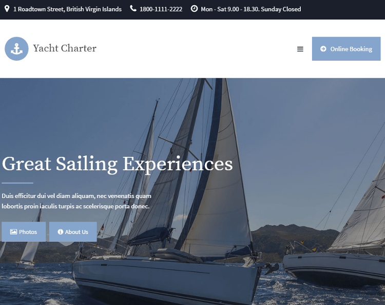 Yacht Charter WordPress Theme