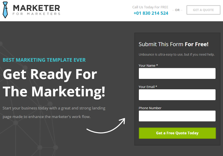 Marketer Landing Page Template