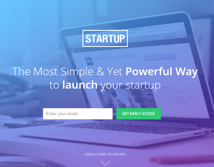 Startups Unbounce Landing Page Template