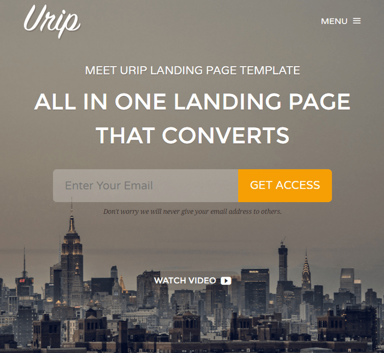 Urip Startup Landing Page Template