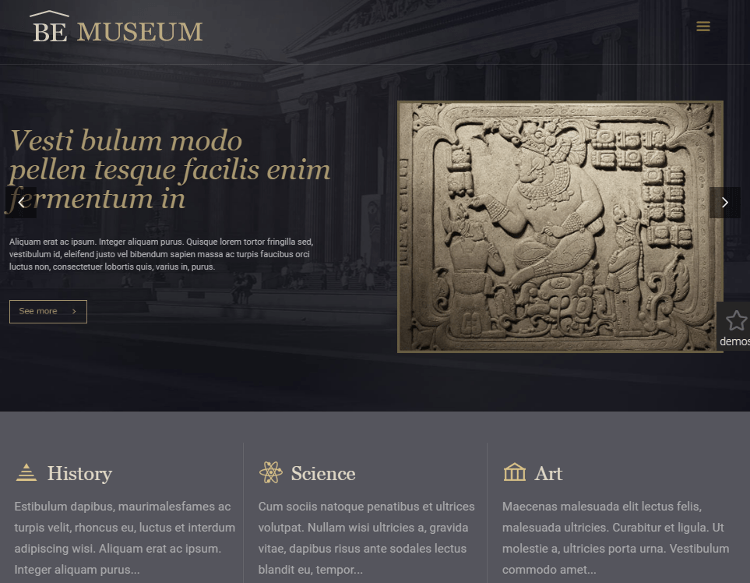 BeTheme Museum HTML5 Template