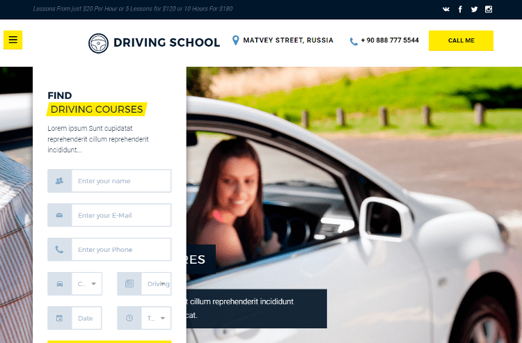 Driving School HTML5 Template