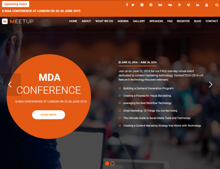 MeetUp Conference Joomla Template