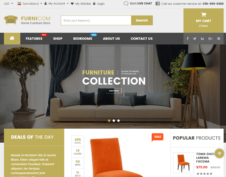 top 5 online furniture store interior design magento themes