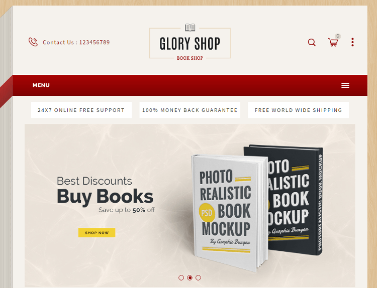 Glory Shop Bookstore Magento Theme