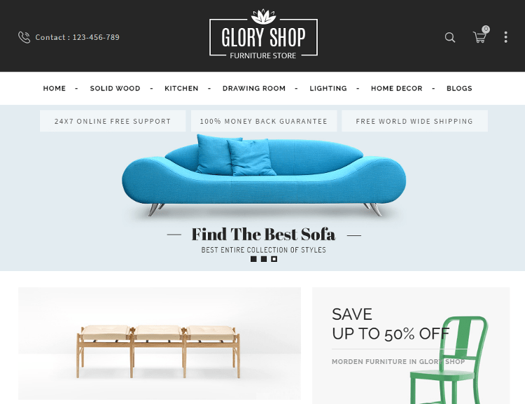 Glory Shop Furniture OpenCart Theme