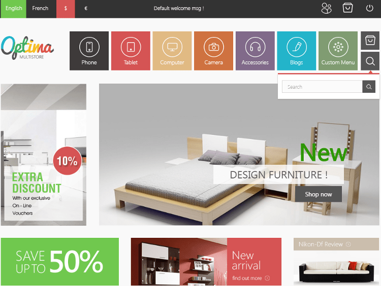 Optima Furniture Store PrestaShop Theme