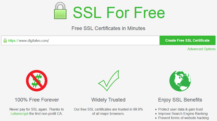 Enter your website address in the field in SSL for Free