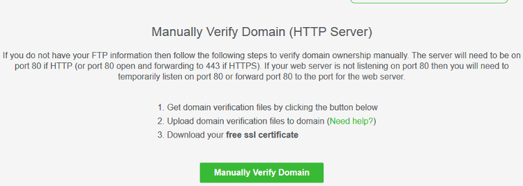 Manually Verify Domain HTTP Server in SSL for Free