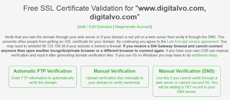 Verify your domain in SSL for Free
