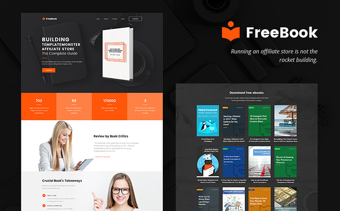 FreeBook: Free E-book Presentation WordPress One-pager Theme