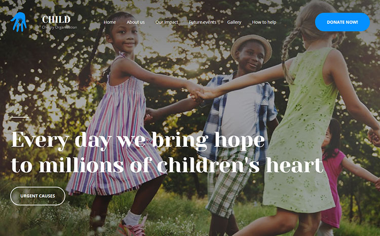 Child Charity Landing Page Template