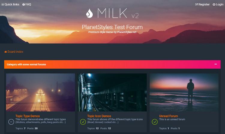 MilkphpBB 3.2 Theme