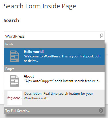Ajax Search and AutoSuggest WordPress Plugin