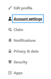 Account settings in Pinterest