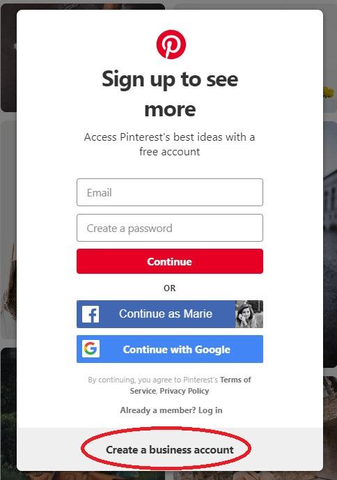 Create a Pinterest business account