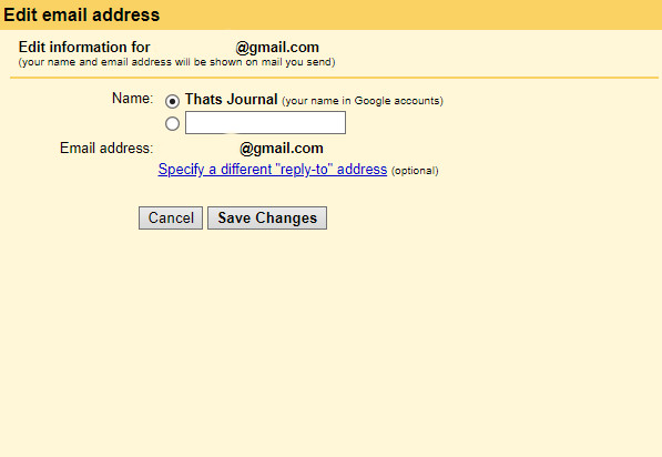 Edit email address in Gmail