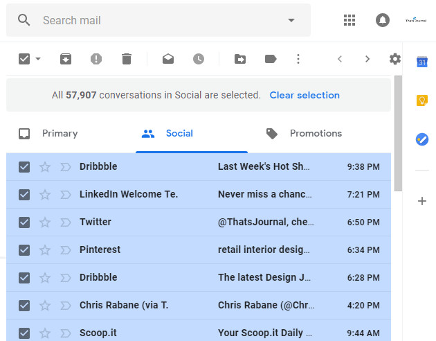 All emails in Social tab are selected in Gmail