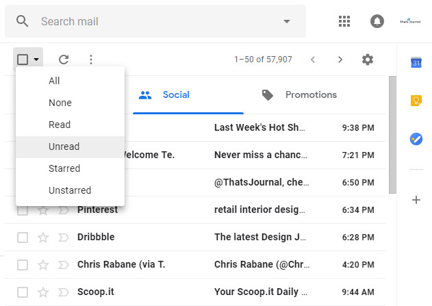 Select all unread emails on page in Gmail