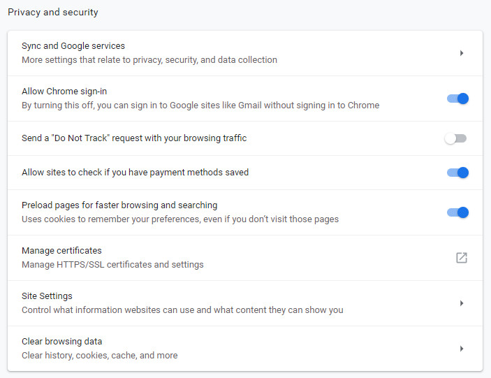 Under Privacy and security, click on Clear browsing data in Google Chrome