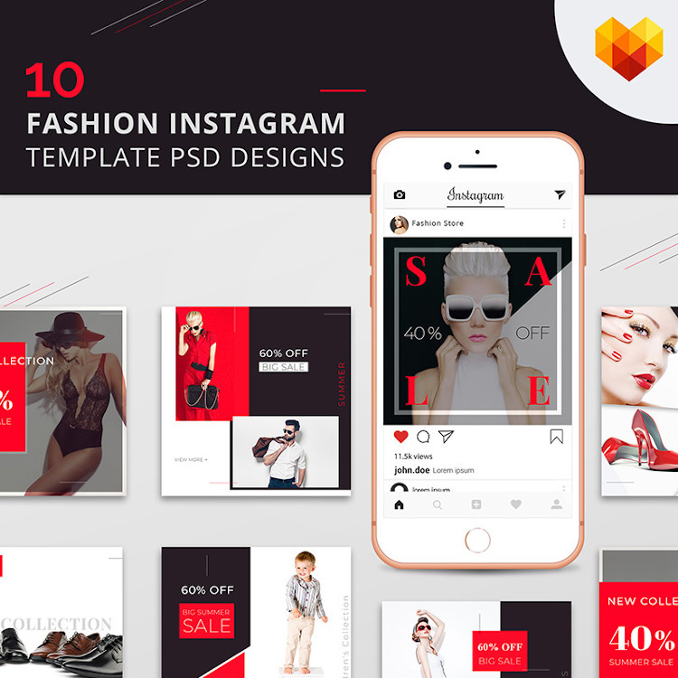 10 Fashion Instagram Template PSD Designs