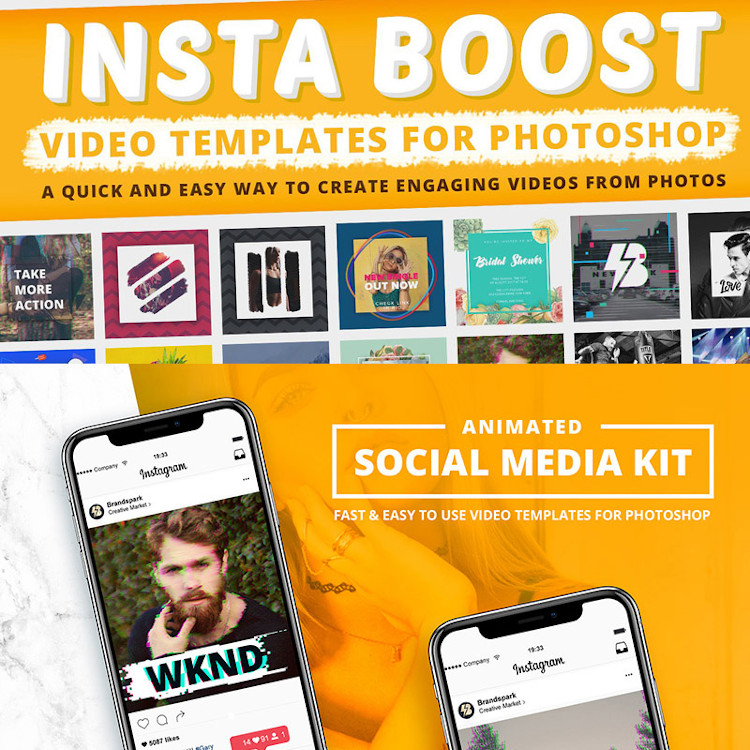 Animated - Instagram Video Templates for Photoshop