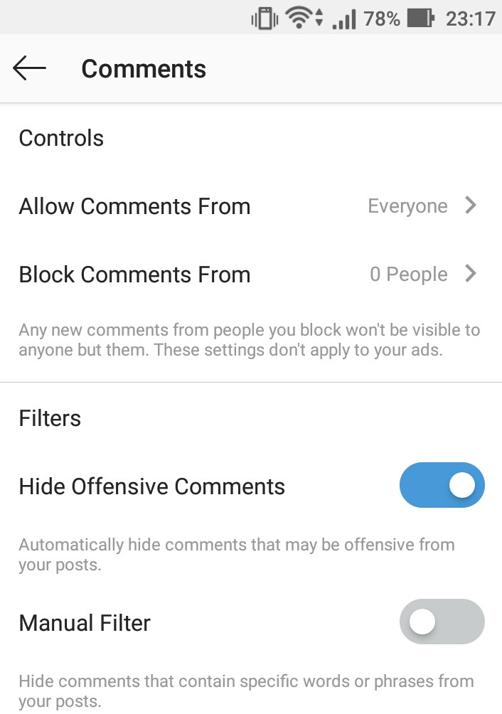 How to hide offensive comments based on keywords in Instagram