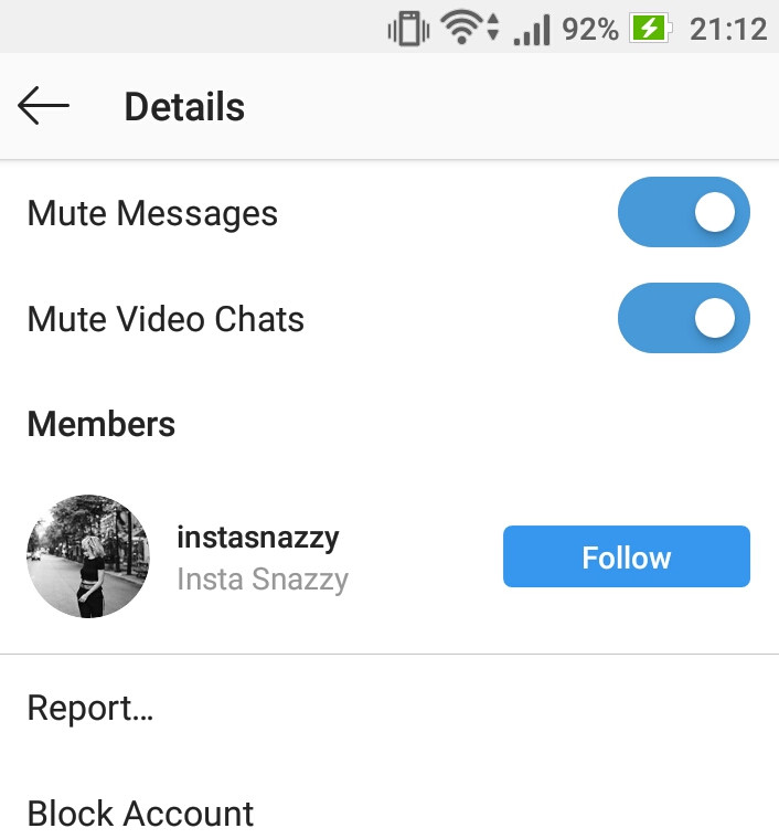 How to mute messages and video chats for users in Instagram