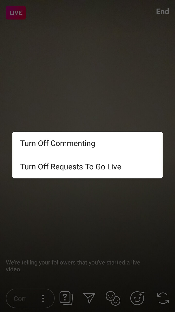 How to turn off commenting in live video in Instagram