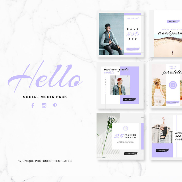 12 Photoshop social media templates