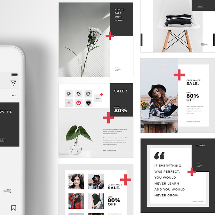 Instagram social media pack for Fashion niche