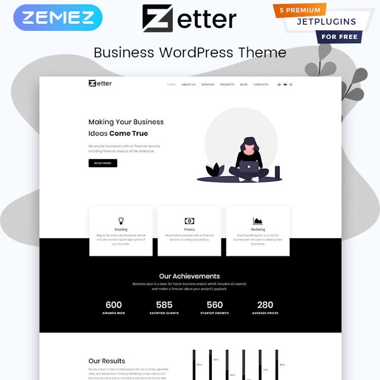Zetter - Business Multipurpose Black&White Elementor WordPress Theme