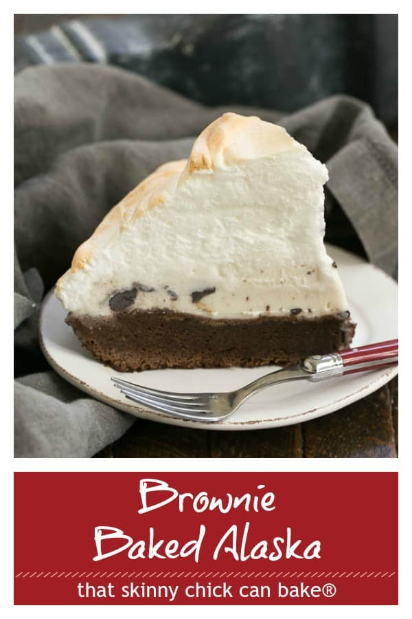 Brownie Baked Alaska photo and text for Pinterest