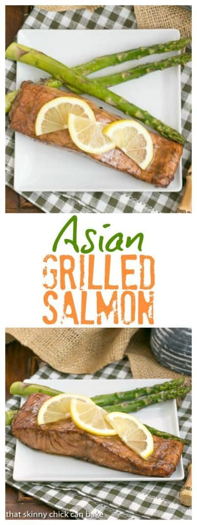 Grilled Asian Salmon | Marinated with soy, mustard and lemon, this could become your favorite salmon recipe, too! #salmon #grilledseafood