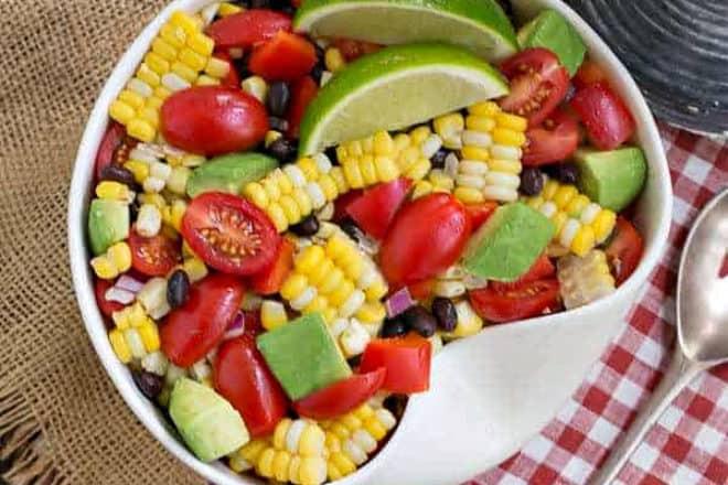 Corn salad in a white bowl