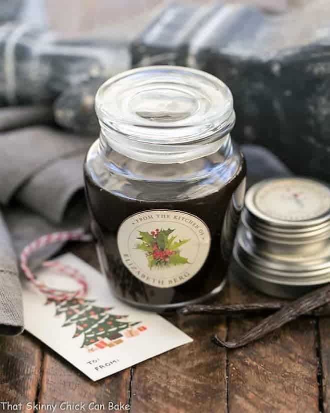 Homemade Vanilla Extract in a decorative jar for gifting