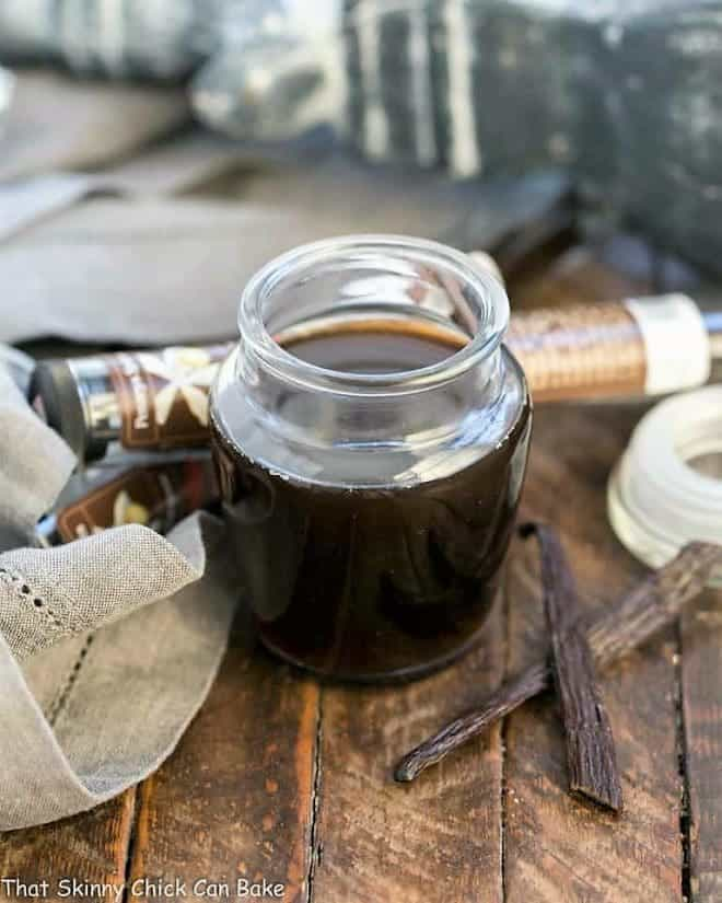 Homemade Vanilla Extract in an open jar