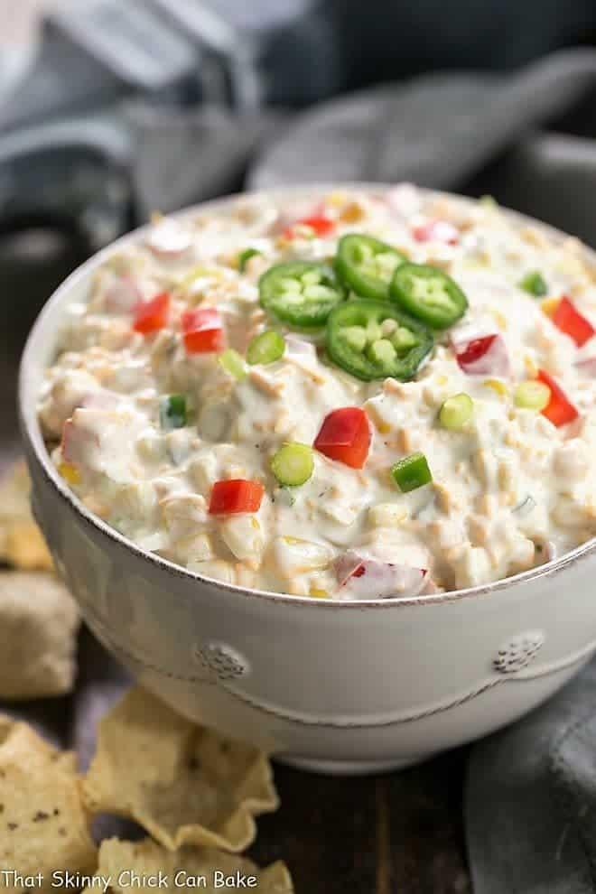 Sour Cream Corn Dip Recipe - in a white serving bowl