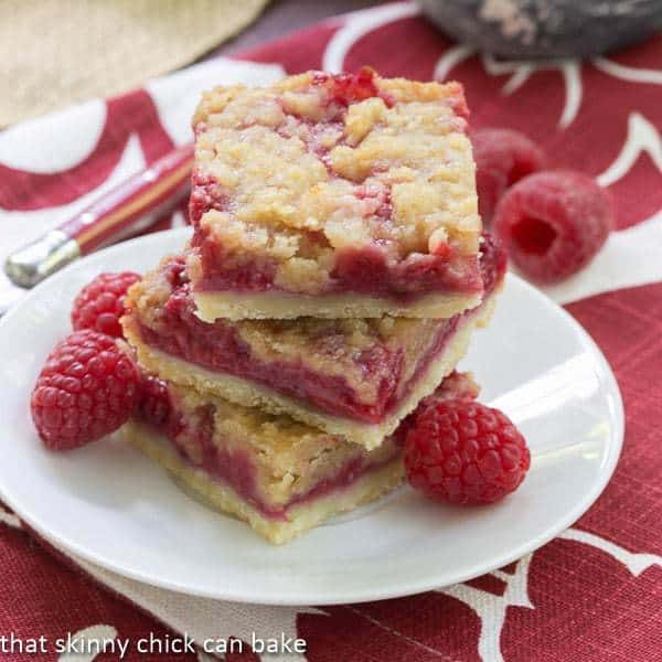 Raspberry Bars on a white plate