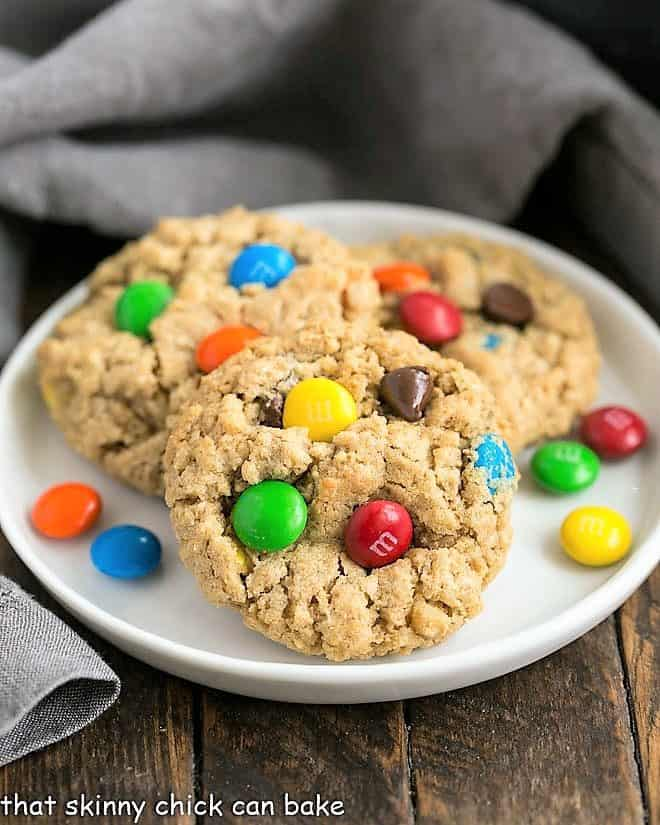 Classic Monster Cookies on a white dessert plate